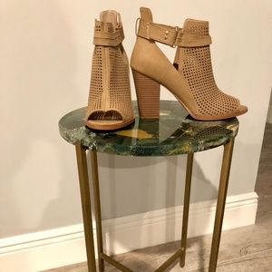 Nude Wedge Heel Ankle Boots